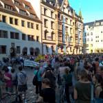 Sammeln auf dem Nikolaikirchplatz