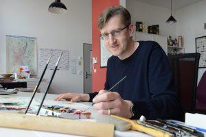 Phil Hubbe an seinem Arbeitsplatz in Magdeburg © Privat